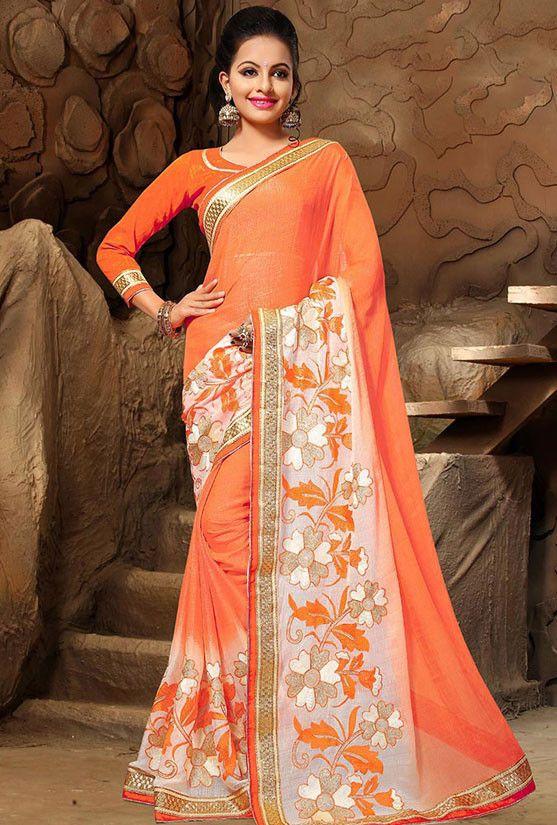 Orange and White Chiffon Saree