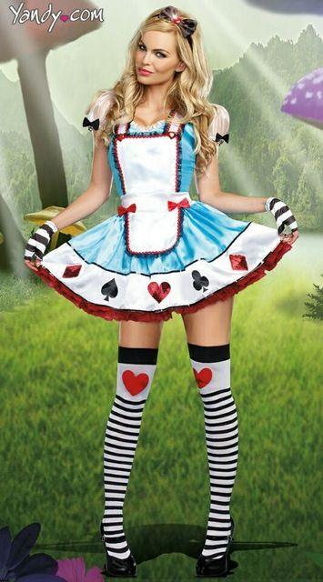 Halloween trajes de fantasia Alice in Wonderlance / francês da empregada doméstica / poker vermelho princesa vestido de baile