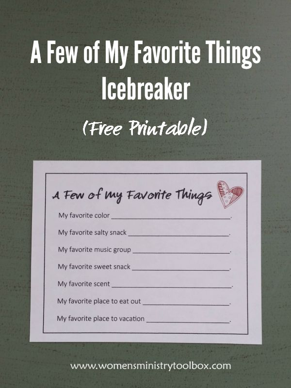 A Few of My Favorite Things Icebreaker (Free Printable) - Get to know your group or team members better! Download the free printable at Women's Ministry Toolbox.