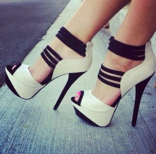beautiful white and black high heels