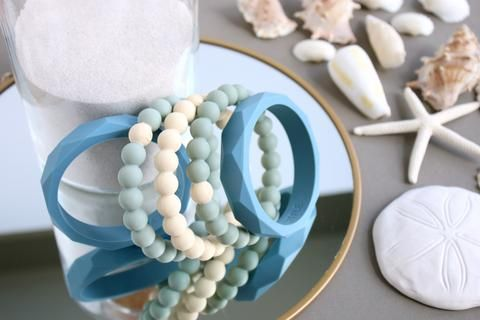 Linda Silicone Teething Bracelet- Seafoam