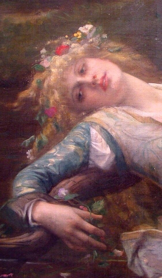 Ophelia (detail), 1883, by Alexandre Cabanel (1823–1889). Oil on canvas   Private collection