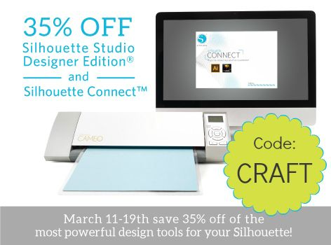 silhouette discount on Designer Edition and the new Silhouette Connect Illustrator plugin. Silhouette's software is still better than any other digital cutters' software. Use code: CRAFT to save 35% http://www.craftaholicsanonymous.net/silhouette-connect-designer-software-discount