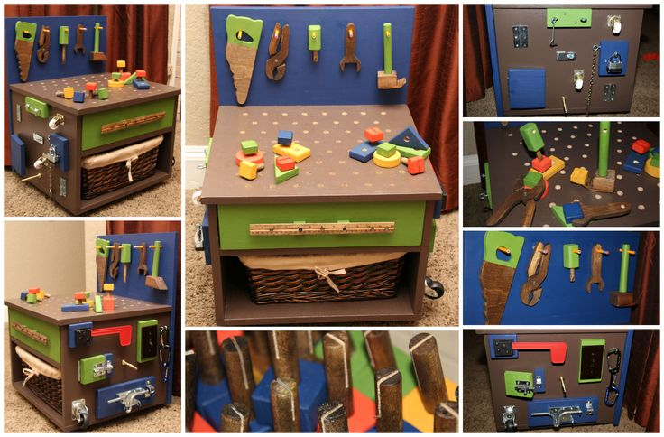 DIY kids tool bench I made. -$5 end table -Plywood for backboard -Pencils for tools to hang on -Cut dow rod for nails, screwdriver & hammer -Homemade nails, saw, plyers, screwdriver, wrench and hammer -Ruler for drawer handle -Pegboard for drawer liner -Drilled holes on top to hammer in nails -Mailbox flag, light switch, door stopper, latch that opens with door hinge, lock w\ key on chain, wheels, hinges & latches. UPDATE-The pencils broke so I drilled the holes through & slipped a bolt\nut…