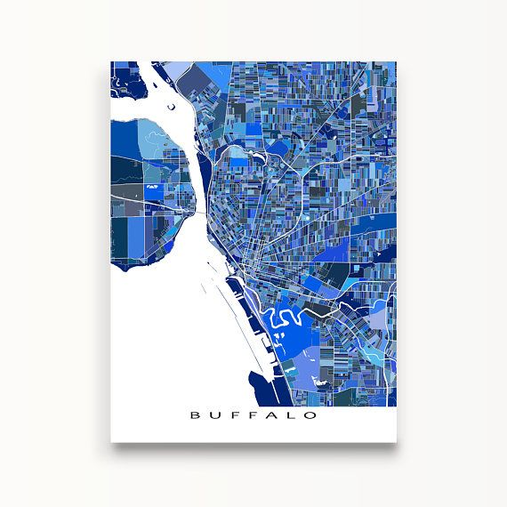 Buffalo map art print featuring the city of Buffalo, New York, USA.  This Buffalo art map has a design made from many little blue shapes. Each shape is actually a city block or a piece of land that combines with city streets - like a puzzle or mosaic - to form this Buffalo, NY print.  PRINT ONLY (frame/mat is not included) * Digital downloads not available. _________________ TITLE * Want the text title removed? * No problem - leave a note at checkout. _________________ BORDER Map design ...