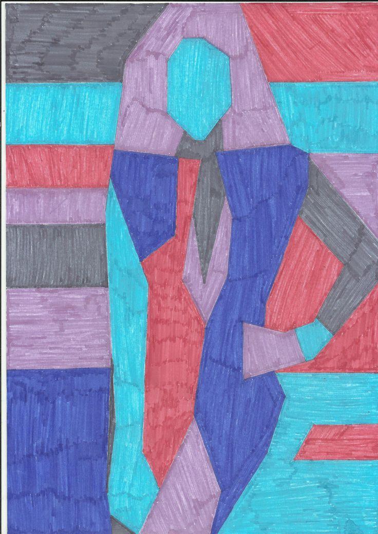 Dibujo realizado en tonos fríos, tras la simplificación de las formas del dibujo de la revista original.