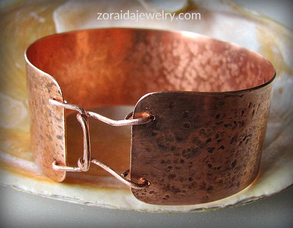 Mens hammered copper cuff with clasp