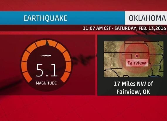 Oklahoma had it's third strongest earthquake in recorded history Saturday morning.  The 5.1 quake caused no damage.  It is expected that the increase in seismic activity could be connected to an increase in fracking.  2/13/16