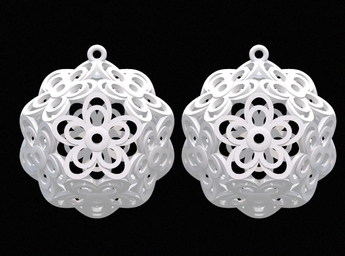 Flower Dodecahedron Earrings by DenisS 3d printed jewellery