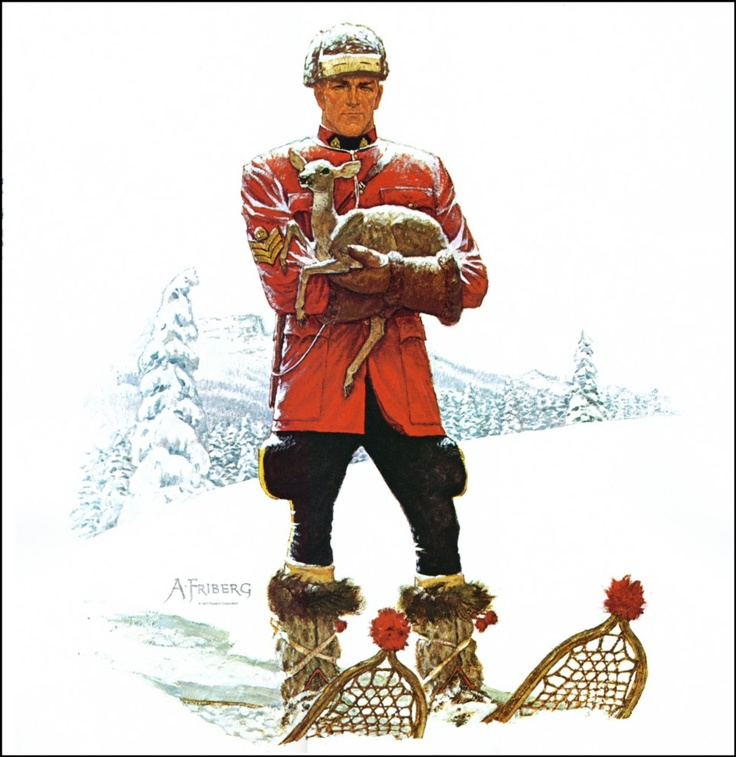 Arnold Friberg. Mountie on snow.