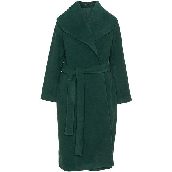 Mat Dark-Green Plus Size Tie belt coat (£150) ❤ liked on Polyvore featuring outerwear, coats, plus size, plus size two piece, felt coat, fur-lined coats, dark green coat and green coat