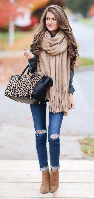 #winter #fashion /  Leopard Tote Bag // Camel Scarf // Black Leather Jacket // Destroyed Skinny Jeans // Camel Ankle Boots