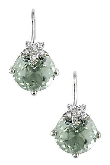 10K White Gold Green Amethyst  Diamond Flower Leverback Earrings