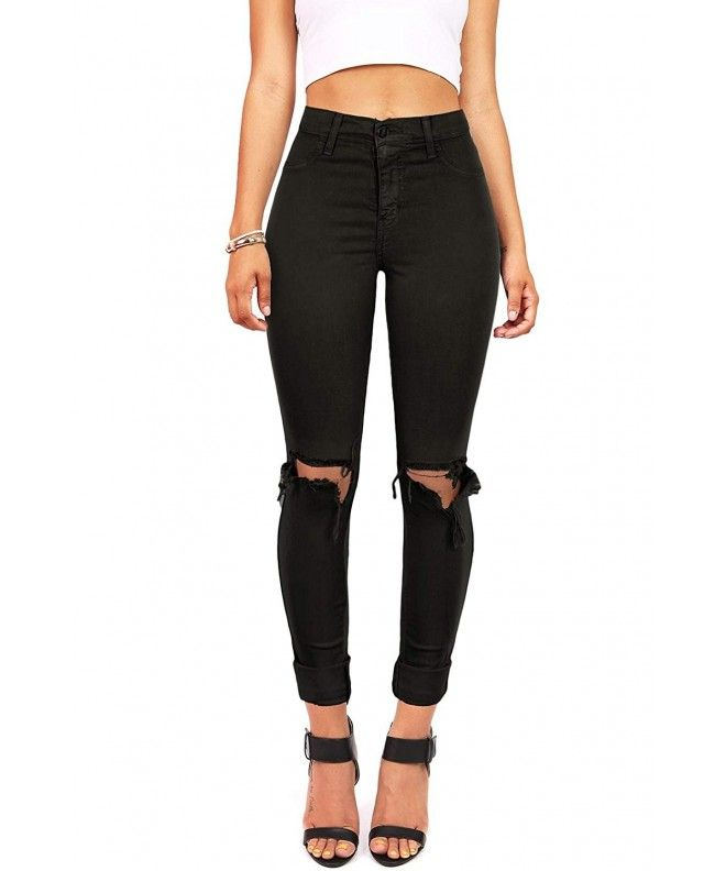 fc21a8590 Women's Juniors Faded High Waist Jeans w Knee Rips - Black - CW12NU7JJKG, Women's Clothing, Jeans #Jeans #Pants #Style #gifts #sexy