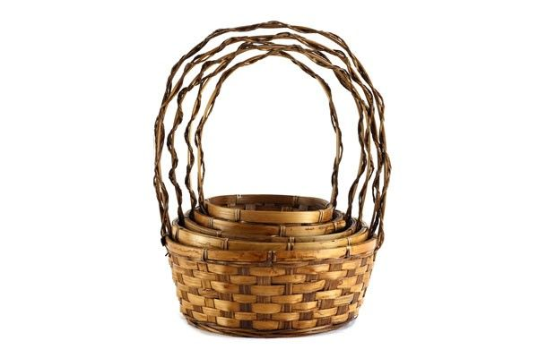 Set/5 2 Tone Round Baskets with Handle