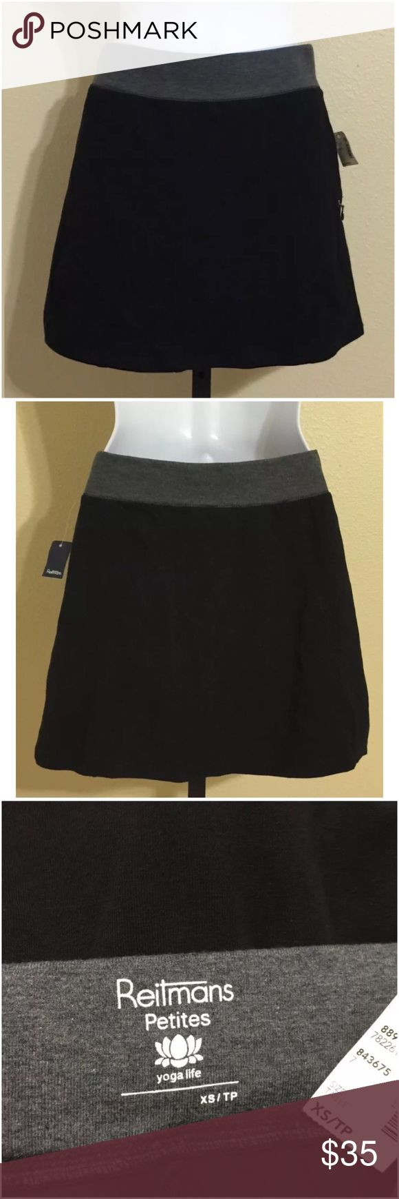 Reitmans Petite Yoga Skorts Size XS Reitmans Petites Women's Athletic Skort Size XS Black Color Gray Elastic Waistband 1 Front Zip Closure Pocket Left Side Machine Washable 90% Cotton 10% Spandex Short Inseam Approx. 3 Inches Short Rise Approx. 8.5 Inches Waist With Fully Relaxed Elastic Waistband Approx. 24 Inches Waist Will Comfortably Stretch to Approx. 26-28 Inches Hips Approx. 31 Inches Front Skirt Length Approx. 14 Inches Rear Skirt Length Approx. 14.5 Inches Sweep Approx. 38 Inches…
