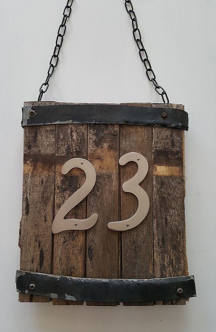 DIY Rustic House Number Sign made from an old whiskey barrel!