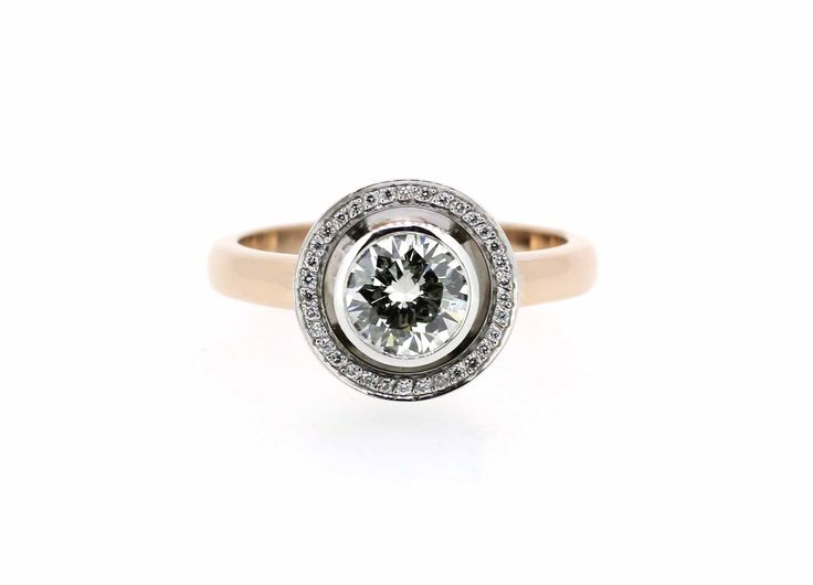 18ct rose and white gold handmade diamond ring, by @clayfieldjewellery in Nundah Village North Brisbane