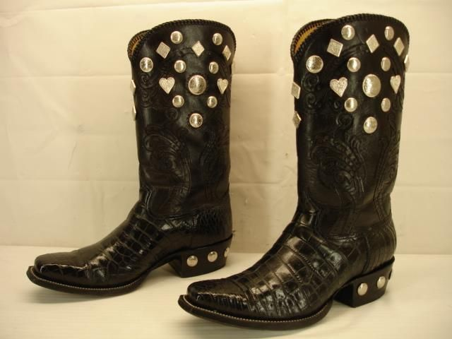 Mens 10 5 M Alligator Skin Cowboy Boots Western Handmade Black Studded Conchos | eBay