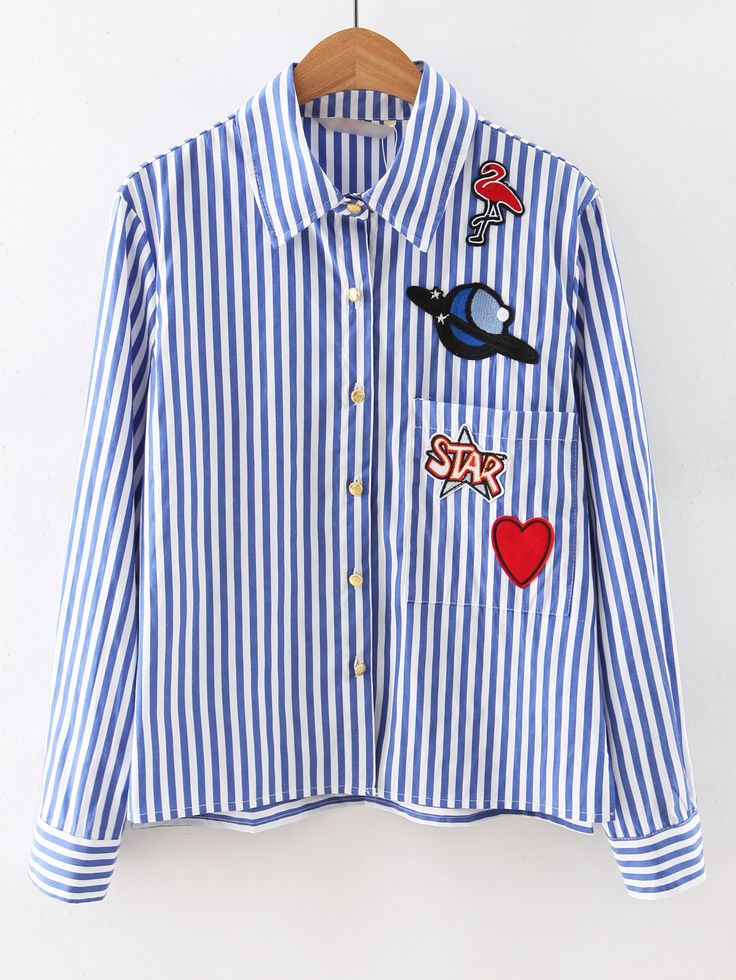 #AdoreWe #ROMWE Blouses - Designer ROMWE Blue Long Sleeve Applique Stripe Blouse - AdoreWe.com