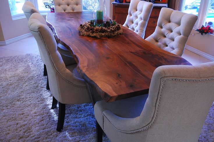 Live Edge Dining Table - Walnut - Bookmatch slab - Reclaim / Salvaged Wood Table by NapaValleyHardwoods on Etsy https://www.etsy.com/listing/502640075/live-edge-dining-table-walnut-bookmatch