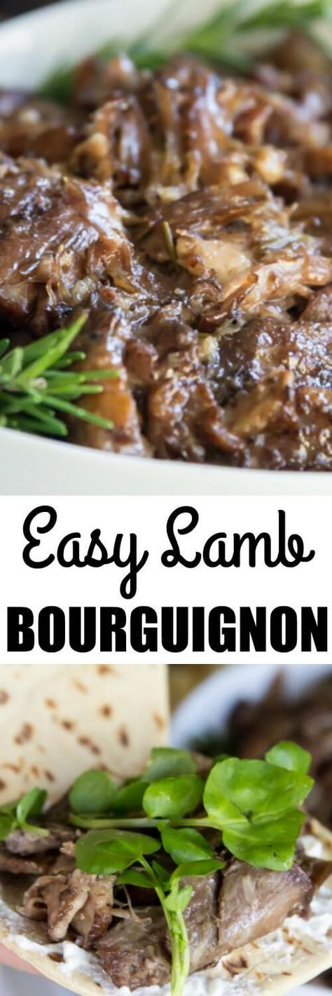 This easy Lamb Bourguignon recipe is the BEST way to cook lamb shoulder. Braise it low and slow in the oven with vegetables, herbs, and plenty of red wine!