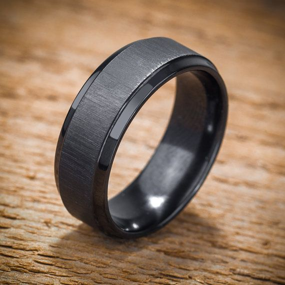 Men's Wedding Band Comfort Fit Interior Black Zirconium Ring