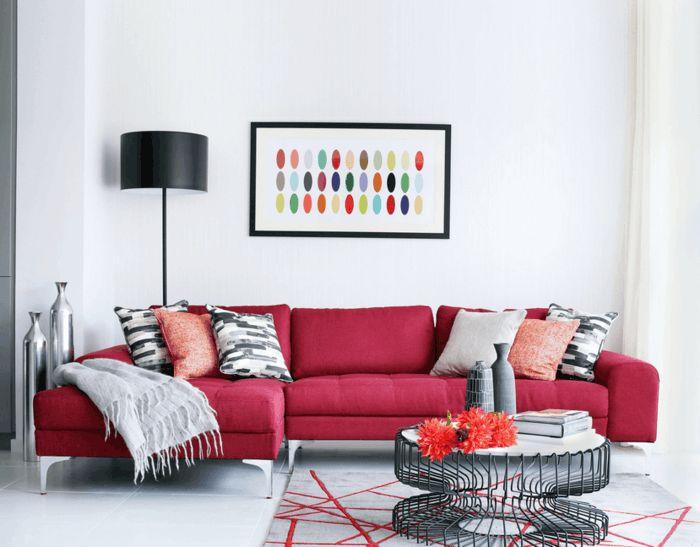 """zu """"Wohnzimmer Rot auf Pinterest  Wohnzimmer-grün, Rote Sofas ..."""
