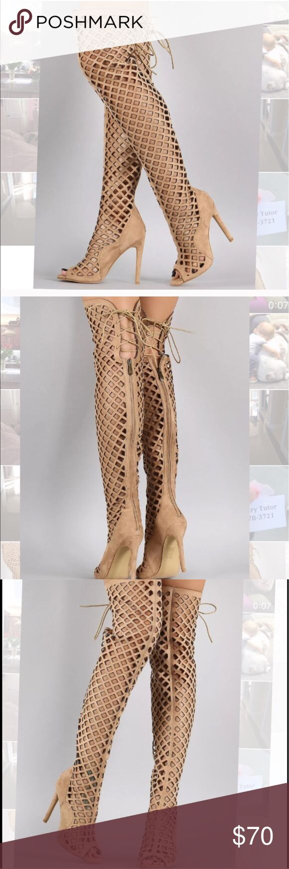 Nude boots Beautiful nude zip up boots perfect for the summer weather and night clubbing Shoes Heeled Boots