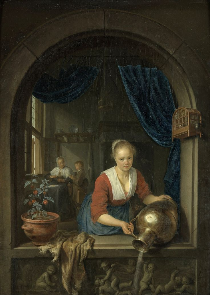 Gerrit Dou (1613–1675) — Maid at the Window, 1660 (1494×2100)
