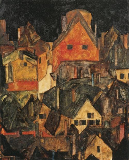 Egon Schiele:  Krumau at Night (1911)