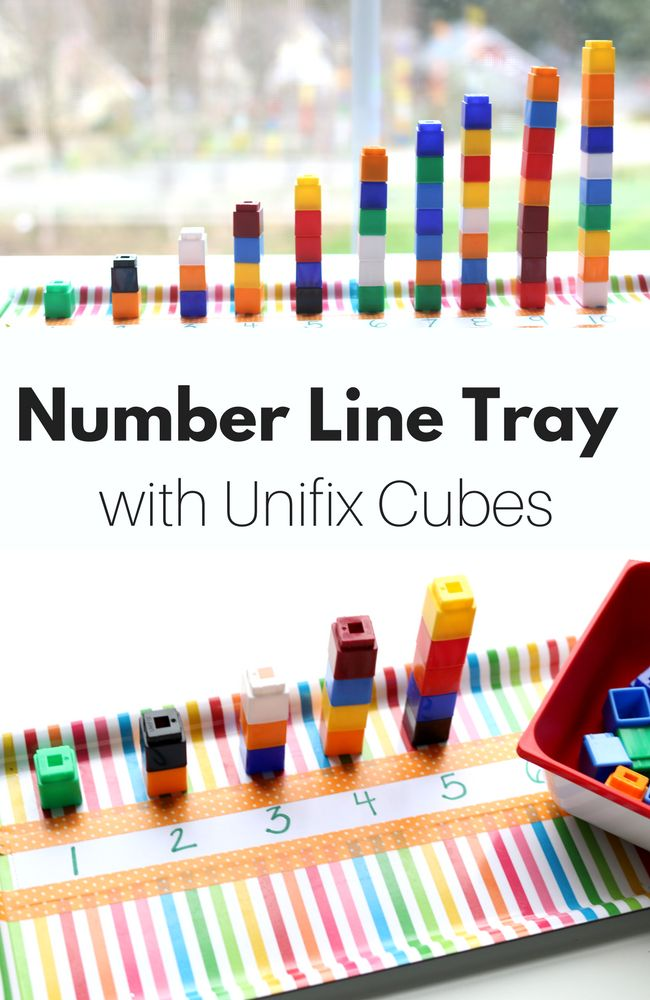 This simple number line is a great way to use Unifix Cubes in your preschool class and work on the early foundations of math. #math #kidsactivities