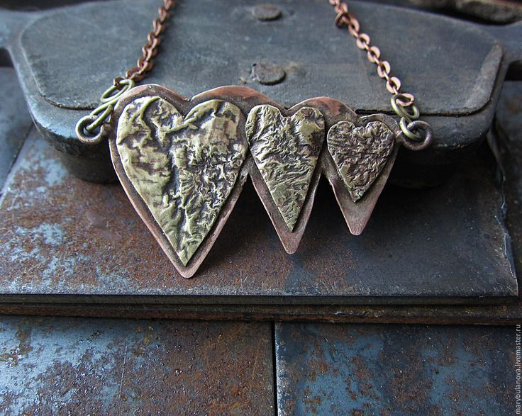 Купить Кулон из меди и латуни Три сердца - кулон на цепочке, медный кулон, медные украшения