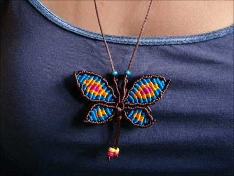#1 MARIPOSA COLLAR EN MACRAME ✿BUTTERFLY NECKLACE IN MACRAME ✿COLAR BORBOLETA EM MACRAME - YouTube