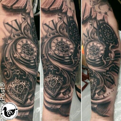 Black and gray time piece and heart locket tattoo