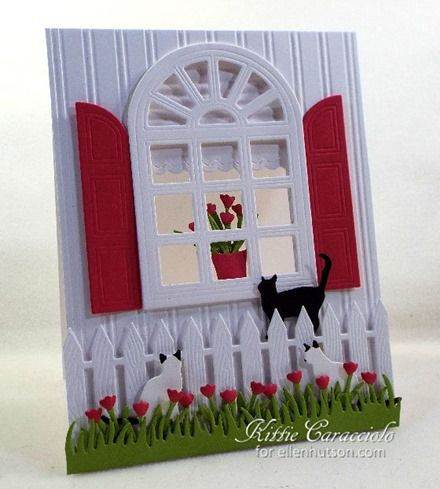 Good Wednesday morning and welcome to the CLASSroom. I have so much fun making cards with whimsical window scenes especially when I can add a few curious cats. My project today was made using the Elizabeth Craft Designs Carolina Window...