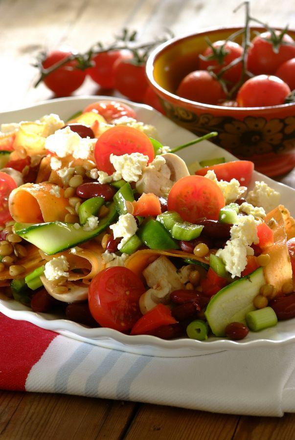 Marinated Mushroom, Lentil & Feta #Salad. So light, bright and easy!  #Vegetarian #Salads #SouthAfrican #MeatFreeMonday