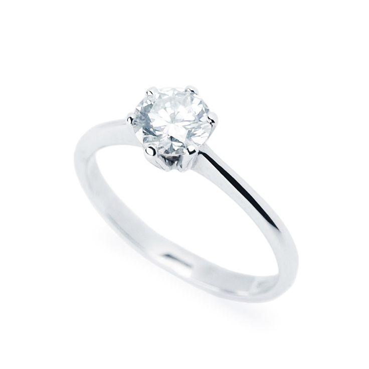 Klasszikus eljegyzési gyűrű 0,6 karátos gyémánttal - Classic white gold engagement ring with 0.6ct diamond
