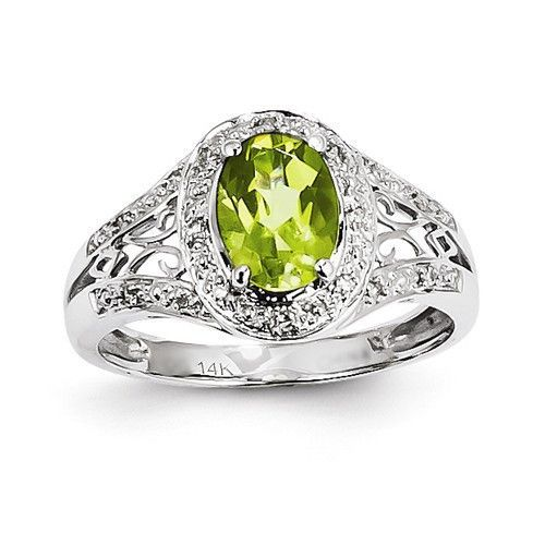 14k White Gold Diamond And Peridot Oval Ring
