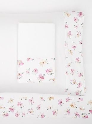 Dea Annabela Petitt Solid with Printed Border Sheet Set (White/.Multi)