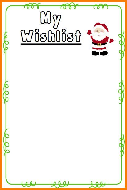 Christmas List Template Download Wish List Template Stock Vector