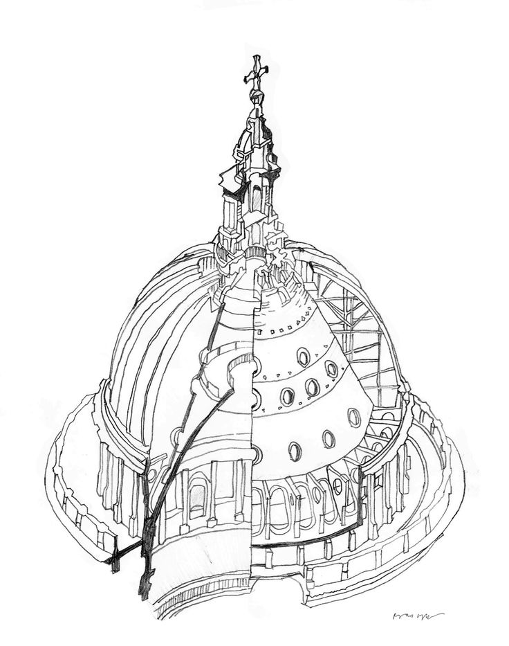 Freehand sectional study of St Paul's Cathedral drawn on location. (ryanjhughes).