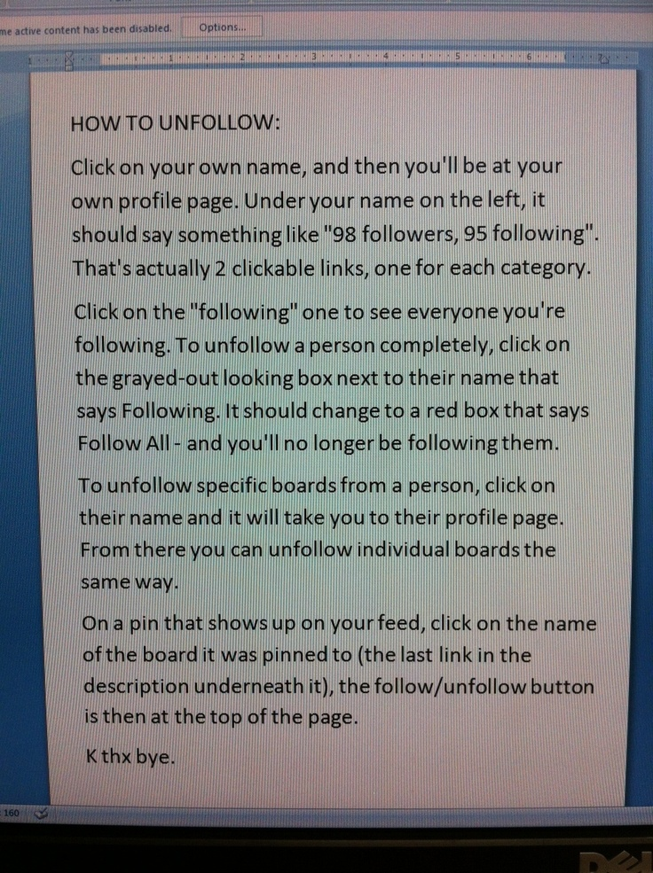 HOW TO UNFOLLOW.