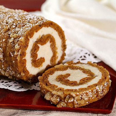 "Try this ""sensibly delicious"" version of our pumpkin roll. Sprinkle with powdered sugar before serving, if desired."
