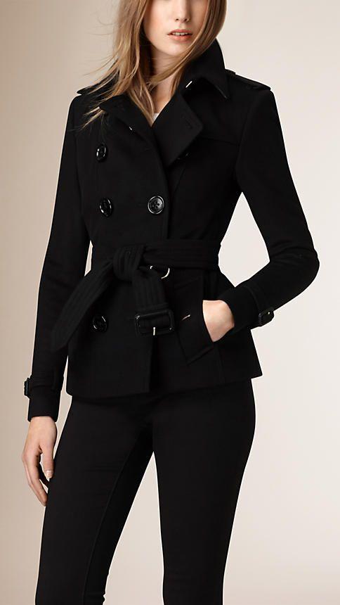 Black Wool Cashmere Trench Jacket - Image 1