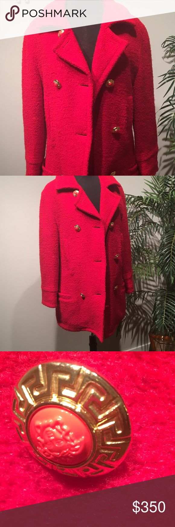 Vintage Versace Coat This is a one of a kind vintage Versace Coat in Red size Small  Great looking vintage condition Versace Jackets & Coats