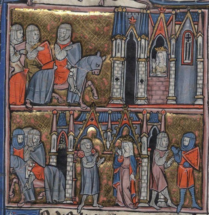 Episodio del Ciclo Arturiano - miniatura Francese, 1275-1300.