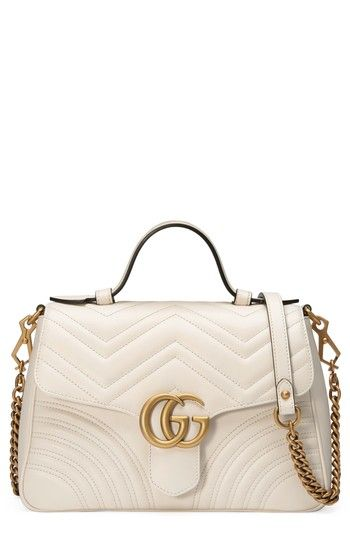 7394eb7f0de GUCCI SMALL GG MARMONT 2.0 MATELASSE LEATHER TOP HANDLE BAG - WHITE.  gucci   bags  leather  hand bags