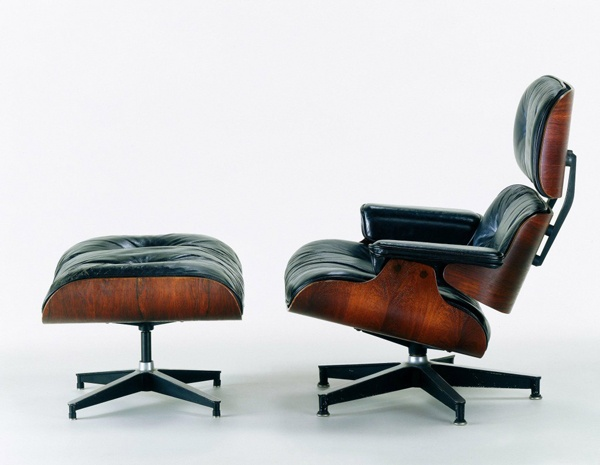 "Eames lounger with foot rest. Originally commissioned by director Billy Wilder, who requested the Eames office design him a ""modern throne""."