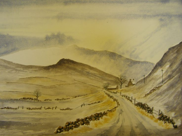 Winter in the Peak District 12 x 16 Water colour  by C walters